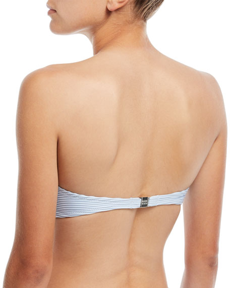 Pintucked V-Ring Padded Bandeau Swim Top