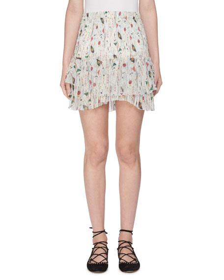 Earley Elastic-Waist Printed Silk Chiffon Skirt