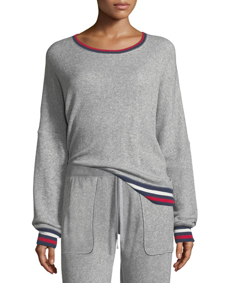 Richardine B Pullover Sweatshirt w/ Striped Trim
