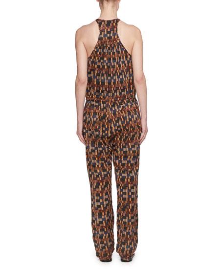 Namibia Sleeveless Ochre-Print Cotton Voile Jumpsuit