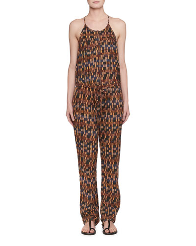 Namibia Sleeveless Ochre-Print Cotton Voile Jumpsuit
