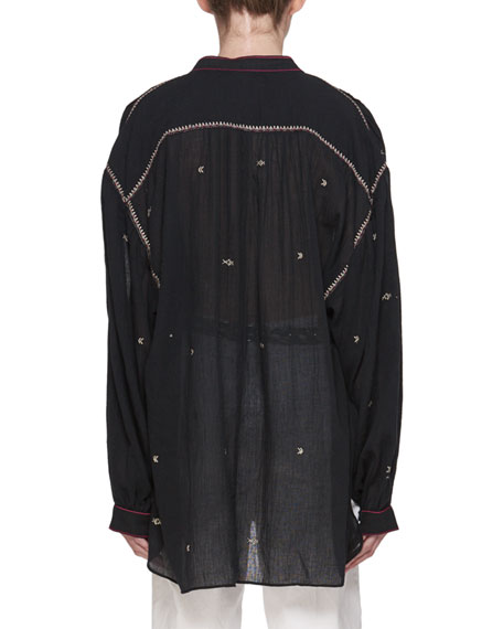 Mathilde Embroidered Cotton Gauze Oversized Top