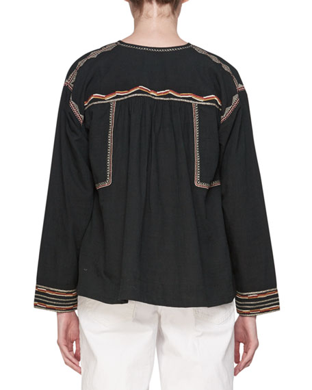 Bilcky Split-Neck Long-Sleeve Cotton Embroidered Top