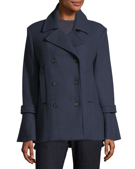 Aeolia Double-Breasted Wool-Blend Pea Coat