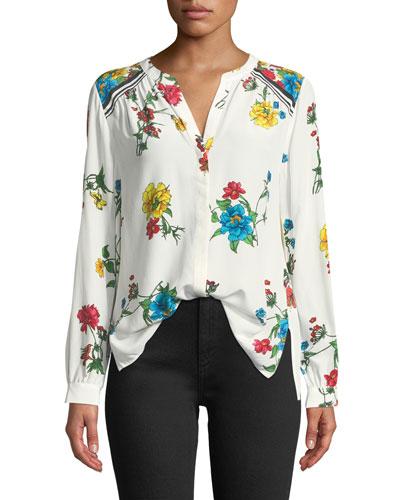 Yaritza B Floral-Print Silk Georgette Top