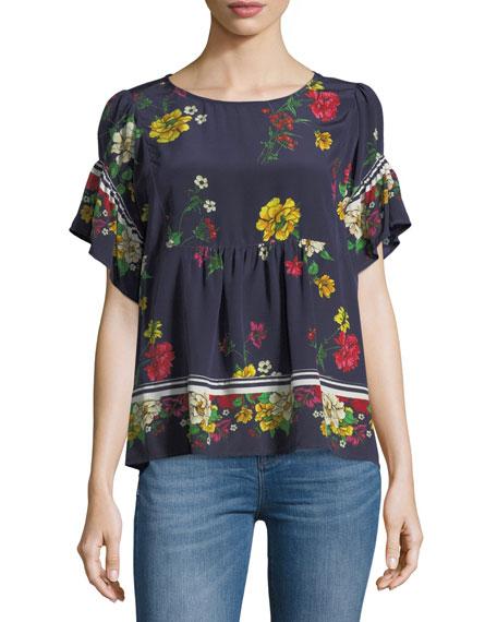 Ayako Floral-Print Silk Top