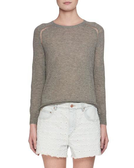 Crewneck Fine-Knit Sweater