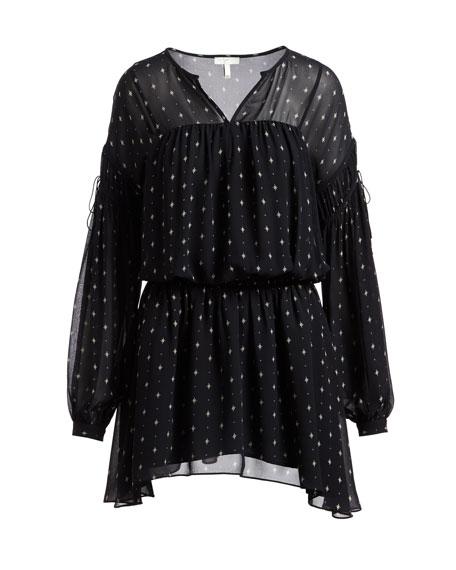 Academia Split-Neck Printed Silk Dress