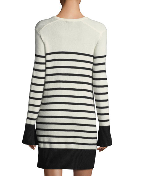 Heltan Lace-Front Long-Sleeve Wool-Cashmere Dress