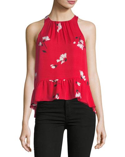 Ayame Floral-Print Sleeveless Silk Top