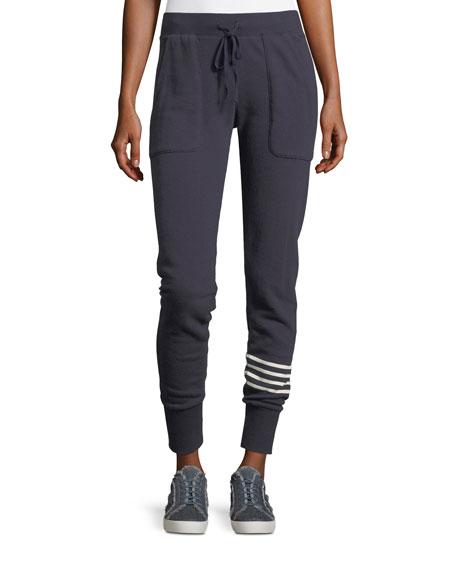 Tendra Drawstring Jogger Pants w/ Stripe Panel