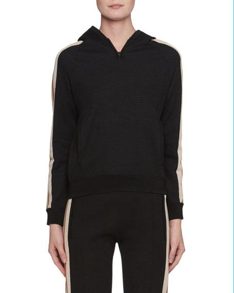 Side-Stripe Pullover Sporty Knit Hoodie