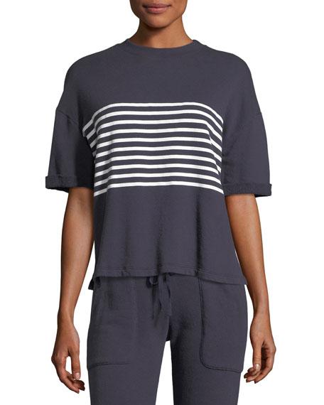 Saneya Crewneck Short-Sleeve Top w/ Stripe Panel