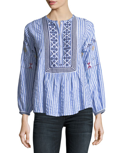 Archana Striped Cotton Top w/ Embroidery
