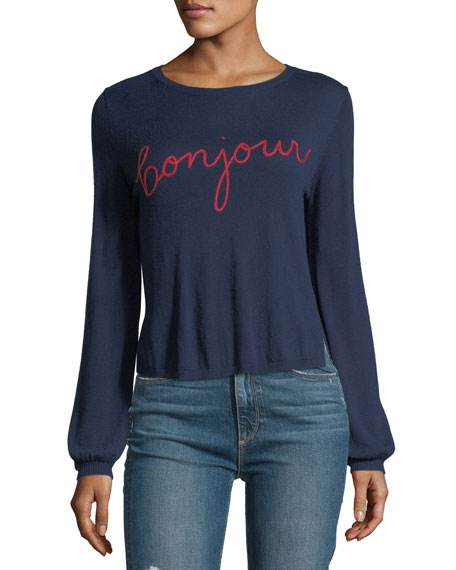 Jenris Bonjour Crewneck Pullover Sweater