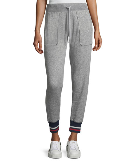 Denicah Heathered Drawstring Jogger Pants w/ Striped Trim