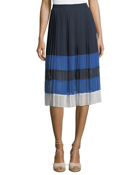 Alpons Colorblocked Pleated A-Line Skirt