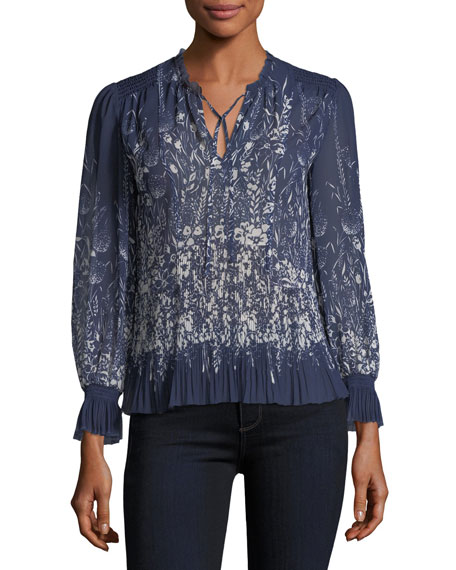Rita Split-Neck Printed Pleated Top