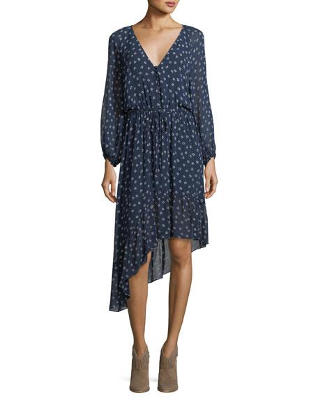 Alithea Asymmetric Printed Silk Dress