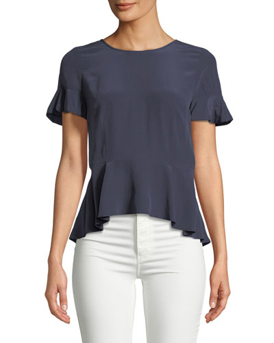 Aquanetta Round-Neck Silk Peplum Top