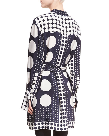 Dot-Print Button-Front Long-Sleeve Silk Shirtdress