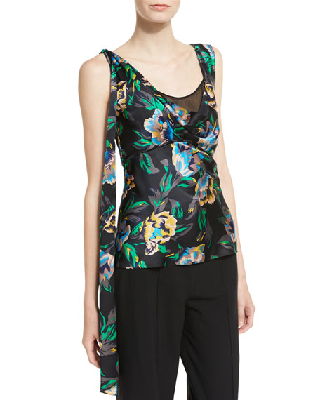 Sleeveless Shoulder-Knot Floral-Print Silk Top