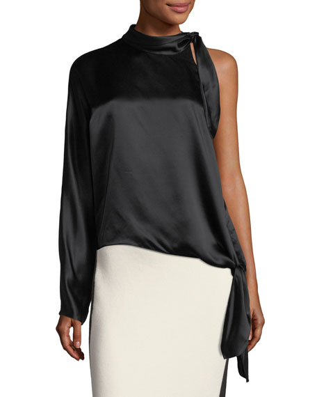7805436e50e Diane von Furstenberg One-Shoulder Knotted Satin Blouse