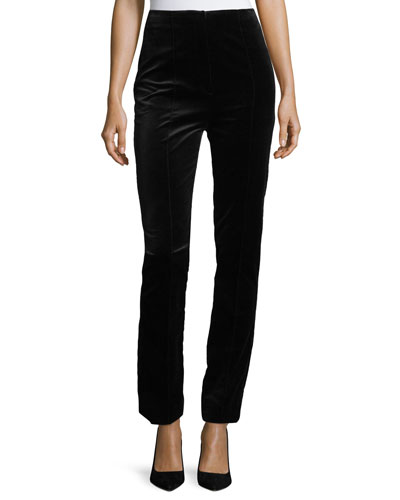 High-Waist Skinny Velvet Pants