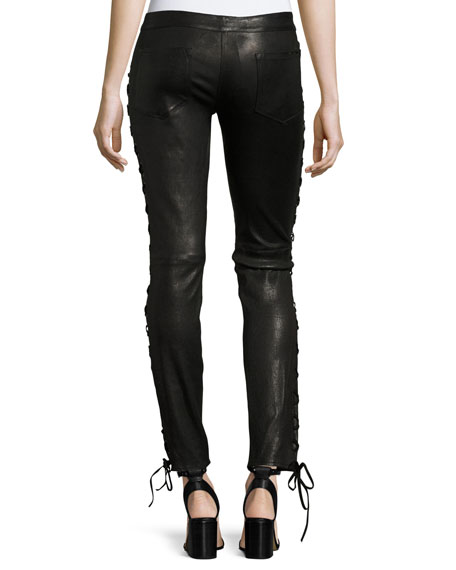 Skinny-Leg Lamb Leather Pants w/ Lacing