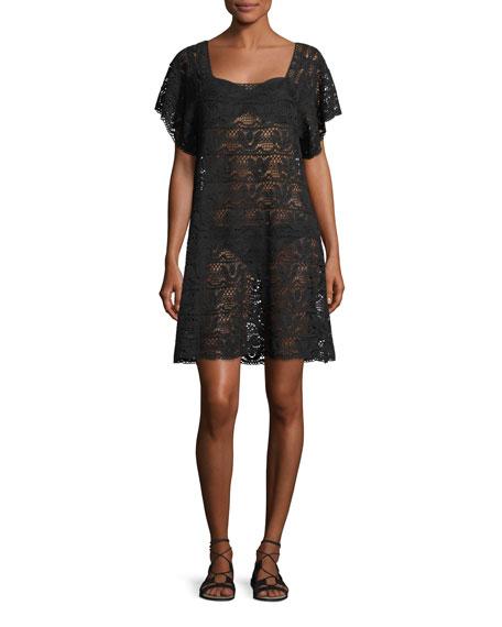 Square-Neck Crochet Mini Dress