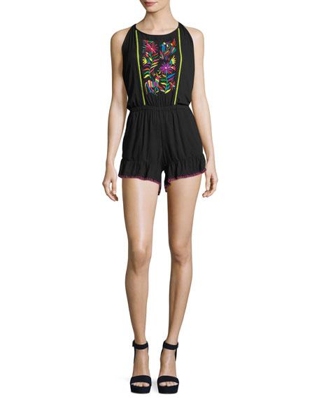 Isla Marietas Sleeveless Romper w/ Embroidery