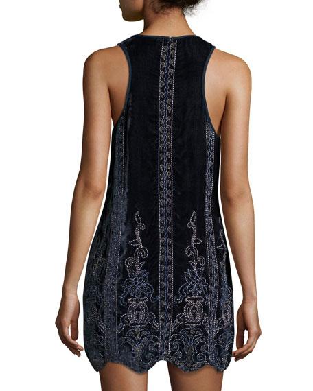 Carlotta's Heart Sleeveless Velvet Dress w/ Beaded Embellishments