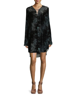 Lace-Up Long-Sleeve Velvet Tunic Dress