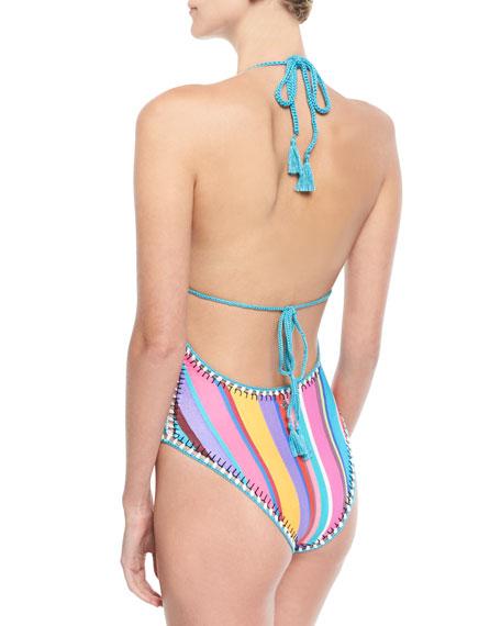 Sayulita Halter Striped One-Piece Swimsuit
