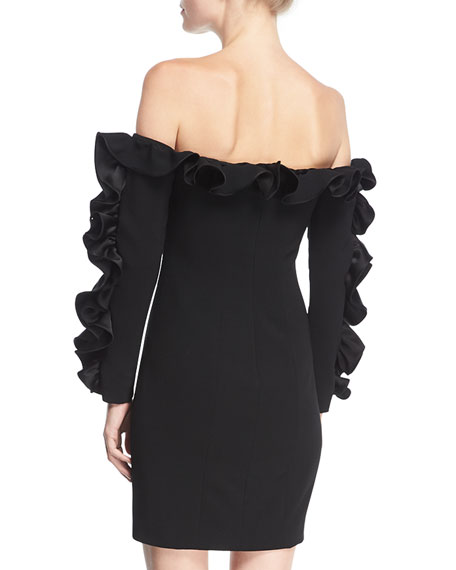 Rosiemarie Off-the-shoulder Straight Dress w/ Ruffled Frills
