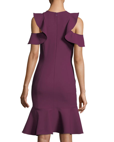 Micah Jewel-Neck Sheath Crepe Cocktail Dress w/ Ruffled Hem