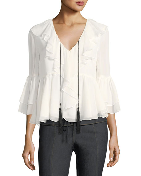 Pacific V-Neck Ruffled Silk Blouse with Tassels