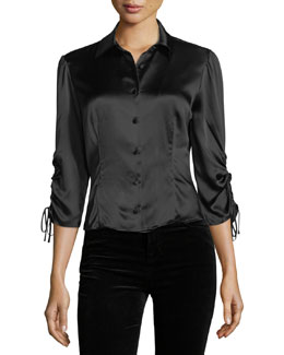 Jolene Button-Front Slim Silk Blouse