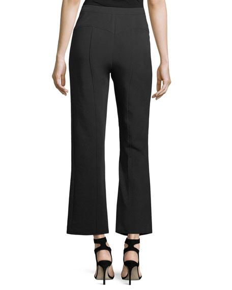 Harlow High-Waist Flared-Leg Stretch-Knit Pants