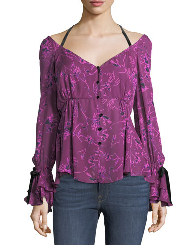 Mabel Bateau-Neck Floral Silk Blouse w/ Velvet Trim