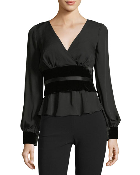 Wes V-Neck Long-Sleeve Blouse with Velvet