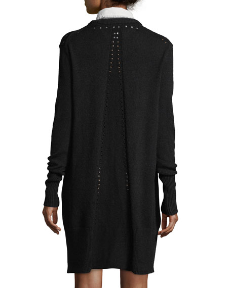 Jana Collared Wool-Blend Sweaterdress w/ Perforations