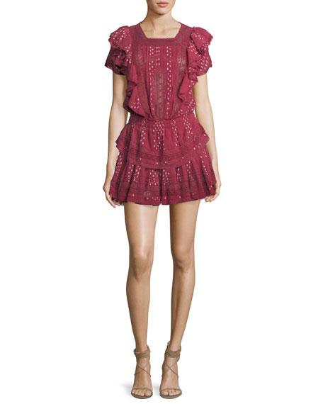 Stella Short-Sleeve Ruffled Lace Dress