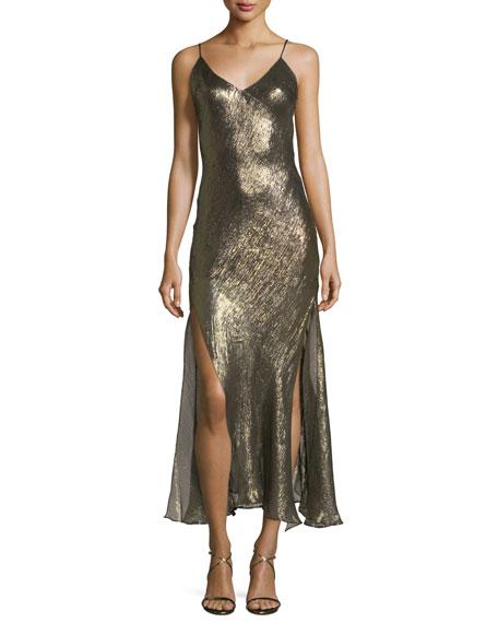 Ruffled V-Neck Sleeveless Metallic Slip Dress