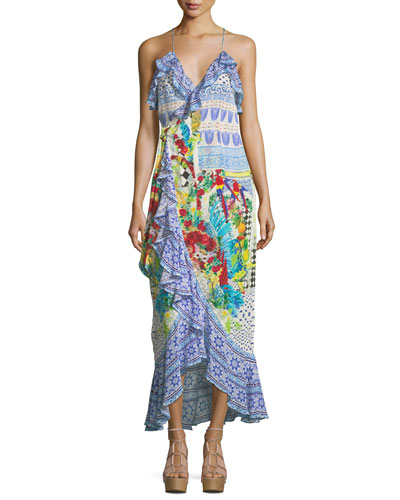 Embellished Ruffle Maxi Wrap Dress