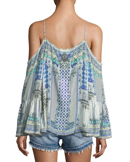 Drop-Shoulder Mixed-Print Silk Blouse