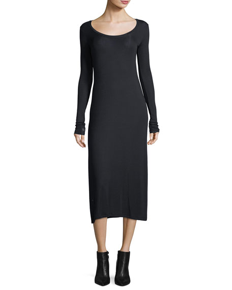 Scoop-Neck Long-Sleeve Fitted Stretch-Knit Midi Dress