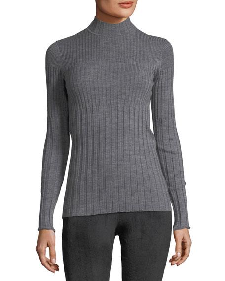 Long-Sleeve Ribbed Turtleneck Sweater