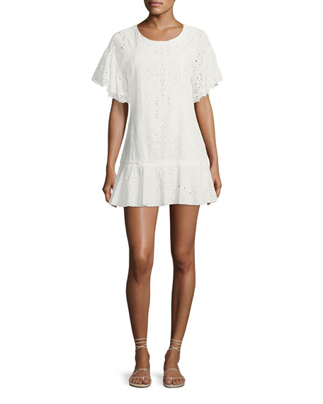 Cara Crewneck Flutter-Sleeve Eyelet Mini Dress