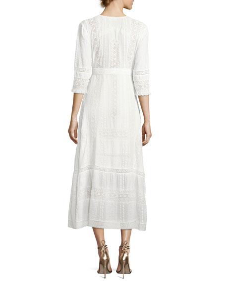 Desert Button-Front Embroidered Maxi Dress
